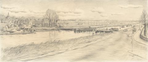 De oude brug bij Badhoevedorp met het dorp Sloten op de achtergrond (foto: Schut, Chris J.Th. (1912-2000), Noord-Hollands Archief)